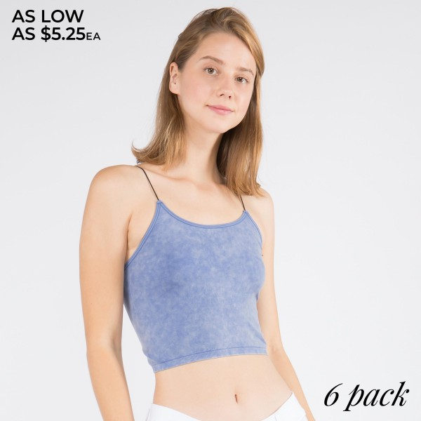 Women's Seamless Acid Wash Crop Camisole. (6 Pack)  • Skinny, elasticized roll straps lay flat against your skin • Acid wash design • Seamless • Cropped length • Buttery soft and smooth fabrication • Stretchy and comfortable • Pullover design • Soft, comfortable thin straps • Perfect for layering under semi-sheer styles or weairng by itself • Imported  - 6 Cami's Per Pack - Size: ONE SIZE FITS MOST 0-14 - 92% Nylon, 8% Spandex