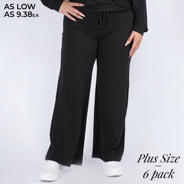 "Women's Plus Size Wide Leg Drawstring Lounge Pants. (6 Pack)   • Drawstring high-rise waistband • Two pockets for keeping your hands warm • Wide leg silhouette • Soft and comfortable fabric with stretch • Comfortable, relaxed fit • Flare hem • Style with your favorite tee for a laid-back look • Soft and stretchy • Comfortable for lounging at home • Imported  - 6 Pair Per Pack - Sizes: 3-XL / 2-2XL / 1-3XL - Inseam approximately 29"" L - 95% Polyester, 5% Spandex"