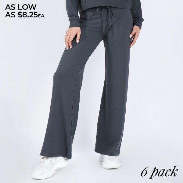 "Women's Wide Leg Drawstring Lounge Pants. (6 Pack) (Pants ONLY)  • Drawstring high-rise waistband • Two pockets for keeping your hands warm • Wide leg silhouette • Soft and comfortable fabric with stretch • Comfortable, relaxed fit • Flare hem • Style with your favorite tee for a laid-back look • Soft and stretchy • Comfortable for lounging at home • Imported  - 6 Pair of Pants Per Pack - Sizes: 2-S / 2-M / 2-L - Inseam approximately 29""  - 88% Polyester / 12% Spandex"
