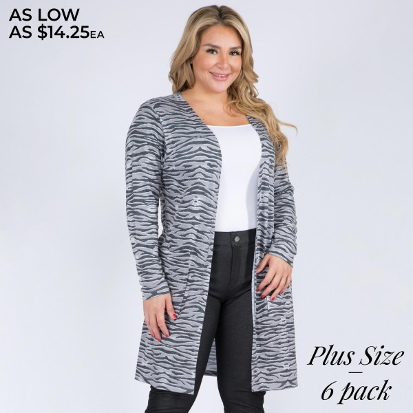 "Women's Plus Size Lightweight Zebra Stripe Duster Cardigan. (6 Pack)  • Long sleeves • Open front design • Two stylish side pockets • Zebra striped print • Soft and comfortable • Duster length hem • Long length hem • Imported  - 6 Cardigans Per Pack - Sizes: 2-XL / 2-2XL / 2-3XL  - Approximately 34"" Long - 80% Polyester 16% Cotton 4%Spandex"