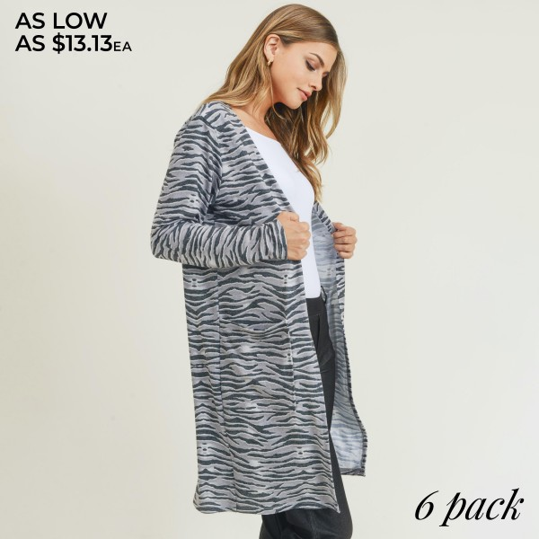 "Women's Lightweight Zebra Stripe Duster Cardigan. (6 Pack)   • Long sleeves • Open front design • Two stylish side pockets • Zebra striped print • Soft and comfortable • Duster length hem • Long length hem • Imported  - 6 Cardigans Per Pack - Sizes: 2-S / 2-M / 2-L  - Approximately 34"" Long -  80% Polyester 16% Cotton 4%Spandex"