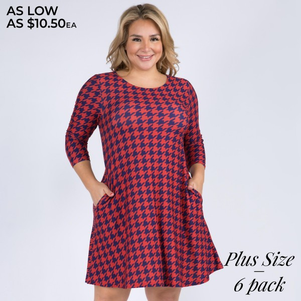"Women's Plus Size Houndstooth Print 3/4 Sleeve Dress with Pockets. (6 Pack)  • Round neckline • Houndstooth pattern • 3/4 length sleeves, round neck • Two open side pockets • Fit and flare swing silhouette • Knee length hem • Soft and stretchy • Imported  - 6 Dresses Per Pack - Sizes: 2-XL / 2-2XL / 2-3XL - Approximately 34"" Long - 95% Polyester / 5% Spandex"