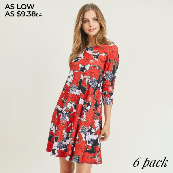 "Women's Snowflake & Poinsettia Print 3/4 Sleeve Dress. (6 Pack)   • Round neckline • Poinsettia & snowflake print • 3/4 length sleeves, round neck • Two open side pockets • Fit and flare swing silhouette • Knee length hem • Soft and stretchy • Imported  - 6 Dresses Per Pack - Sizes: 2-S / 2-M / 2-L  - Approximately 34"" Long - 90% Polyester, 10% Spandex"