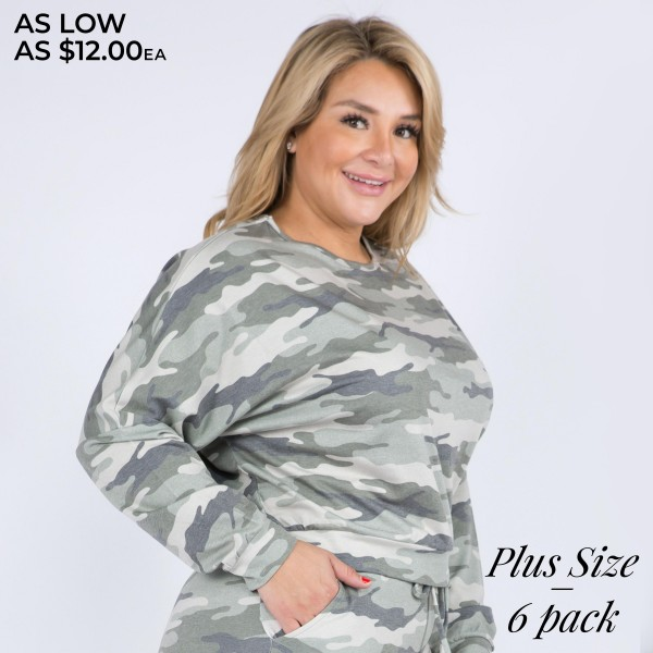 Women's Plus Size Relaxed Fit Vintage Camouflage Lounge Top. (6 Pack) XL ONLY  • Dropped shoulder seams • Long sleeves with cuffs • Vintage camo print • Relaxed fit • Round neckline • Soft and comfortable fabric with stretch • Pullover design • Perfect for styling with joggers and slides • Imported  - 6 Shirts Per Pack - Size: ALL 6 - XL  - 70% Polyester / 30% Rayon