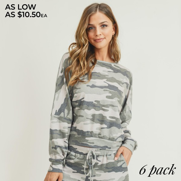 Women's Relaxed Fit Vintage Camouflage Top. (6 Pack) (Top ONLY)  • Dropped shoulder seams • Long sleeves with cuffs • Vintage camo print • Relaxed fit • Round neckline • Soft and comfortable fabric with stretch • Pullover design • Perfect for styling with joggers and slides • Imported  - 6 Shirts Per Pack - Sizes: 2-S / 2-M / 2-L  - 70% Polyester / 30% Rayon