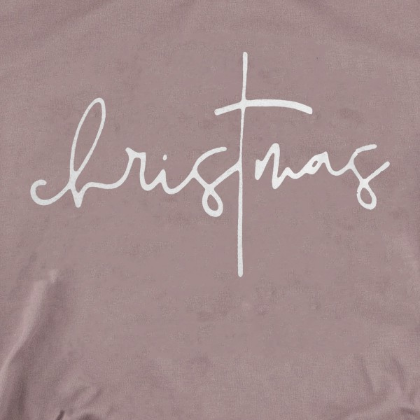 Christmas Script Graphic Tee.  - Printed on a Bella Canvas Brand Tee - Color: Brown - 6 Shirts Per Pack - Sizes: 1-S / 2-M / 2-L / 1-XL - 100% Cotton