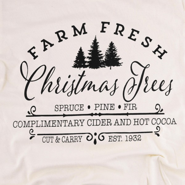 Farm Fresh Christmas Trees Graphic Tee.  - Printed on a Gildan Heavy Cotton Brand Tee - Color: Natural  - 6 Shirts Per Pack - Sizes: 1-S / 2-M / 2-L / 1-XL - 100% Cotton