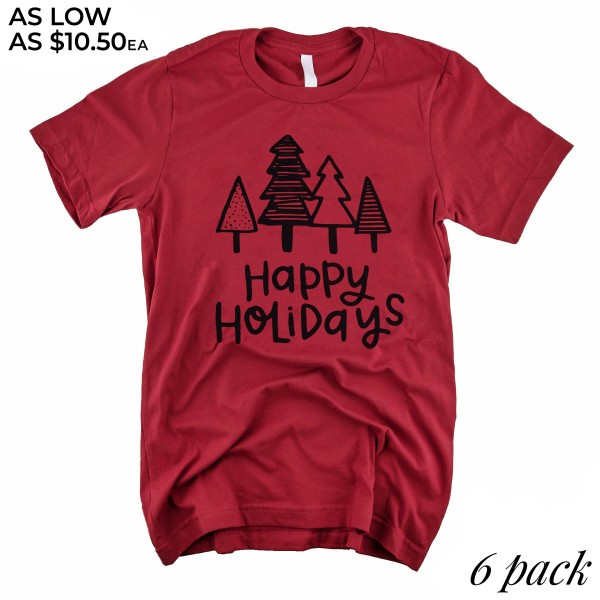 Happy Holidays Graphic Tee.  - Printed on a Gildan Softstyle Brand Tee - Color: Red - 6 Shirts Per Pack - Sizes: 1-S / 2-M / 2-L / 1-XL - 100% Cotton