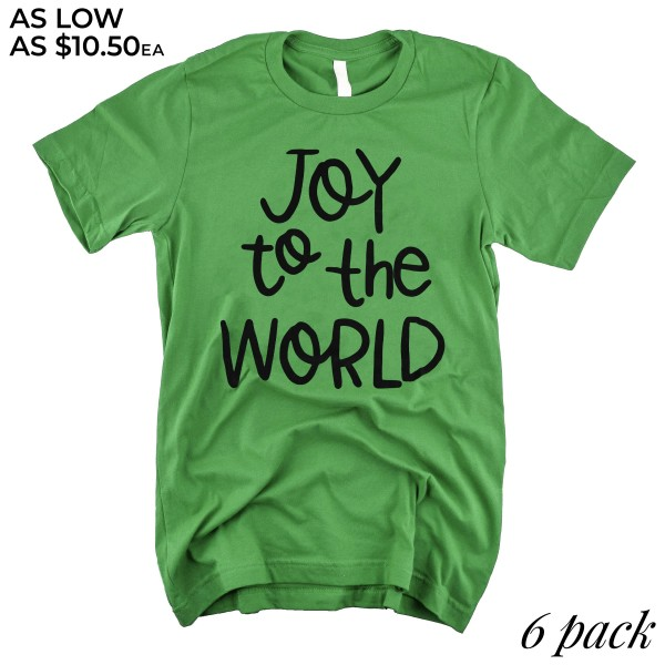 Joy to the World Christmas Graphic Tee.  - Printed on an Anvil Lightweight Brand Tee - Color: Green - 6 Shirts Per Pack - Sizes: 1-S / 2-M / 2-L / 1-XL - 100% Cotton