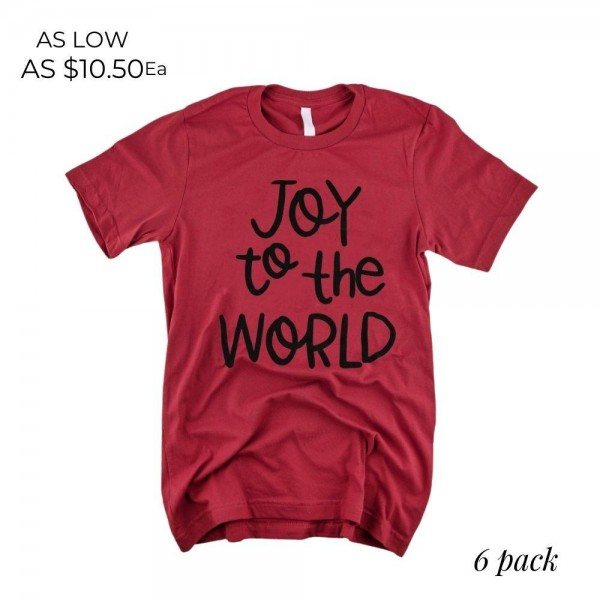 Joy to the World Christmas Graphic Tee.  - Printed on a Gildan Softstyle Brand Tee - Color: Red - 6 Shirts Per Pack - Sizes: 1-S / 2-M / 2-L / 1-XL - 100% Cotton