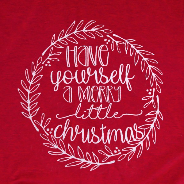 """Have Yourself A Merry Little Christmas"" Graphic Tee.  - Printed on a Gildan Softstyle Brand Tee - Color: Red - 6 Shirts Per Pack - Sizes: 1-S / 2-M / 2-L / 1-XL - 90% Cotton / 10% Polyester"