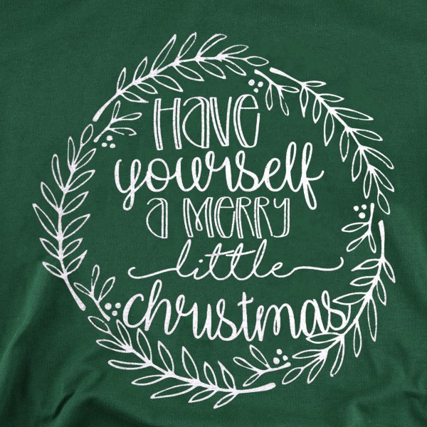 """Have Yourself A Merry Little Christmas"" Graphic Tee.  - Printed on a Bella Canvas Brand Tee - Color: Forest Green - 6 Shirts Per Pack - Sizes: 1-S / 2-M / 2-L / 1-XL - 100% Cotton"