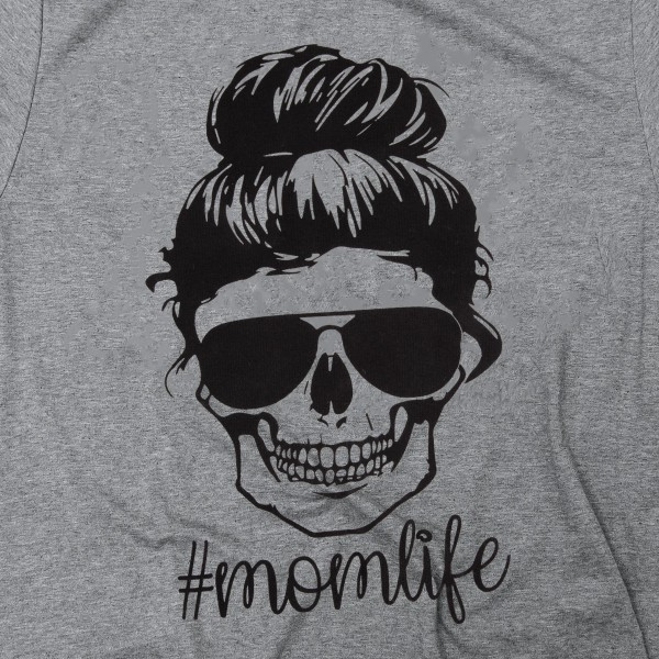 #MOMLIFE Skull Graphic Tee.  - Printed on a Gildan Softstyle Brand Tee - Color: Grey - 6 Shirts Per Pack - Sizes: 1-S / 2-M / 2-L / 1-XL  - 50% Cotton / 50% Polyester