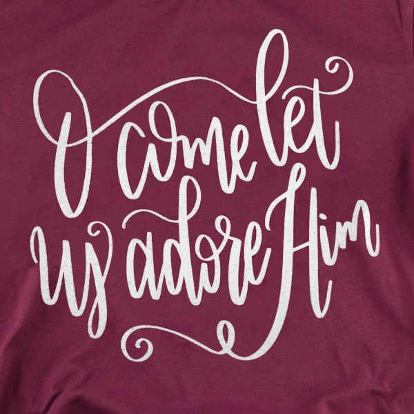 """O Come Let Us Adore Him"" Christmas Graphic Tee.  - Printed on a Gildan Softstyle Brand Tee - Color: Maroon - 6 Shirts Per Pack - Sizes: 1-S / 2-M / 2-L / 1-XL - 100% Cotton"