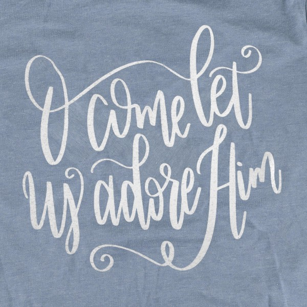 """""""O Come Let Us Adore Him"""" Christmas Graphic Tee.  - Printed on a Gildan Softstyle Brand Tee - Color: Blue - 6 Shirts Per Pack - Sizes: 1-S / 2-M / 2-L / 1-XL - 65% Polyester / 35% Cotton"""