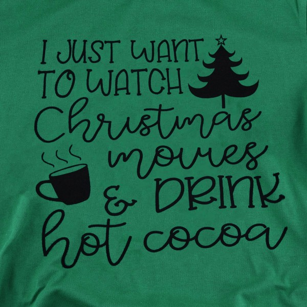 Christmas Movies & Hot Coco Graphic Tee.  - Printed on a Bella Canvas Brand Tee - Color: Green - 6 Shirts Per Pack - Size: 1-S / 2-M / 2-L / 1-XL - 100% Cotton