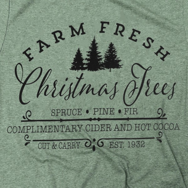 Farm Fresh Christmas Trees Graphic Tee.  - Printed on a Gildan Softstyle Brand Tee - Color: Olive Green - 6 Shirts Per Pack - Sizes: 1-S / 2-M / 2-L / 1-XL - 65% Polyester / 35% Cotton