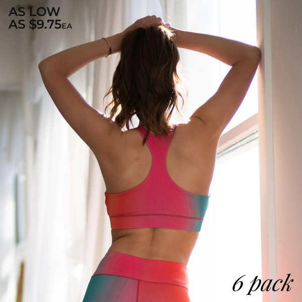 Women's Active Ombre Workout Sports Bra. (6 Pack) (Bra ONLY)  • High neckline • Two removable pads provide shaping & support • Racerback design • Moisture wicking fabric • Stretchy and comfortable • 4-way stretch for a move-with-you feel • Pullover styling • Great for all low-medium impact workouts • Imported  - 6 Sports Bra's Per Pack - Sizes: 2-S / 2-M / 2-L  - Body: 46% Polyester, 41% Nylon, 13% Spandex - Lining 1: 80% Nylon, 20% Spandex - Lining 2: 75% Nylon, 25% Spandex