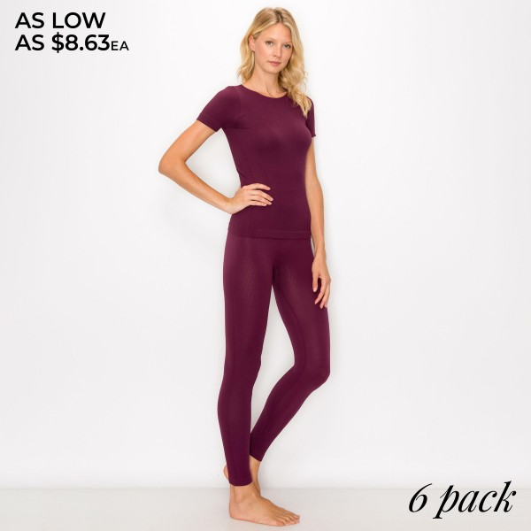 Women's Seamless Ribbed Knit Active Fitted Shirt and Leggings Set. (6 Pack SET)  - Seamless - Short Sleeve Top - Seamless Leggings - 6 SETS Individually Packed Per Pack - Shirt & Legging's Included  - Sizes: 2-S / 2-M / 2-L  - 92% Nylon / 8% Spandex
