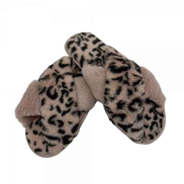 Women's Faux Fur Leopard Print Plush Criss Cross Indoor Slippers.  - Open Toe/Criss Cross - Plush - Faux Fur - Indoor Use - Flip Flop Slip on Style - High Quality Rubber Sole - Fits Women's Shoe Size 8-8.5