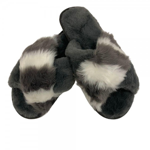 Women's Grey Faux Fur Criss Cross Plush Indoor Slippers.  - Open Toe/Criss Cross  - Plush - Faux Fur - Indoor Use - Flip Flop Slip on Style - High Quality Rubber Sole - Fits Women's Shoe Size 8-8.5