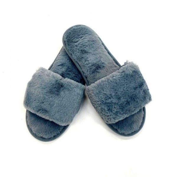 Faux Fur Plush Indoor Slippers.  - Open Toe - Plush - Faux Fur  - Indoor Use  - Flip Flop Slip on Style - High Quality Rubber Sole - Fits Women's Shoe Size 8-8.5