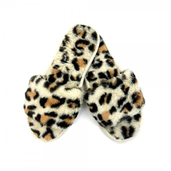 Leopard Print Faux Fur Plush Indoor Slippers.  - Open Toe - Plush - Faux Fur - Indoor Use - Flip Flop Slide On Style - High Quality Rubber Sole - Fits Women's Shoe Size 8-8.5