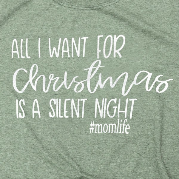 Silent Night Christmas Graphic Tee. (6 Pack)  - Printed on a Gildan Softstyle Brand Tee - Color: Olive Green  - 6 Shirts Per Pack - Size: 1-S / 2-M / 2-L / 1-XL - 65% Polyester / 35% Cotton