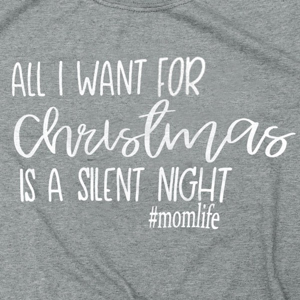 Silent Night Christmas Graphic Tee. (6 Pack)  - Printed on a Gildan Softstyle Brand Tee - Color: Charcoal Grey - 6 Shirts Per Pack - Size: 1-S / 2-M / 2-L / 1-XL - 65% Polyester / 35% Cotton