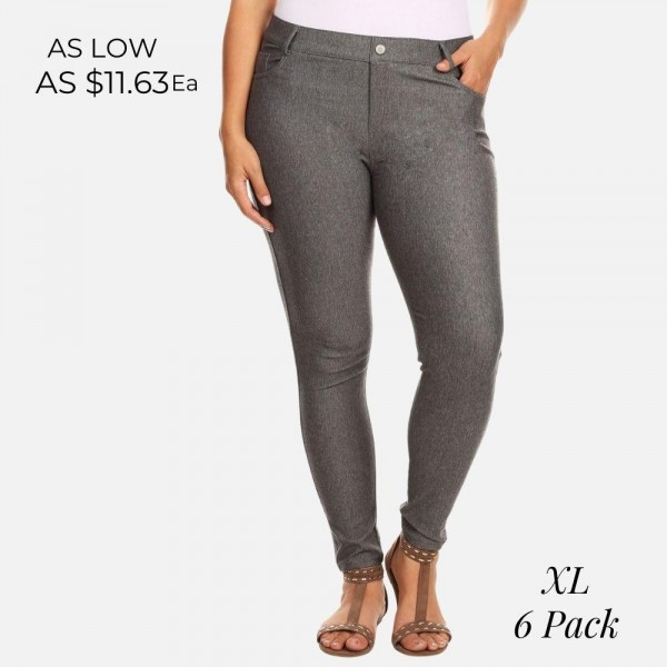 "Women's XL Grey Denim Style Skinny Jeggings. (6 Pack) (XL ONLY)  • Full length jeggings featuring a light sheen and jean-style construction • Lightweight, breathable cotton-blend material for all day comfort • Belt loops with 5 functional pockets • Shake Head Button • Super Stretchy • Pull up Style  - 6 Pair Per Pack - Sizes: ALL 6 - XL ONLY - Inseam (approx) 26"" L - 70% Cotton / 25% Polyester / 5% Spandex"