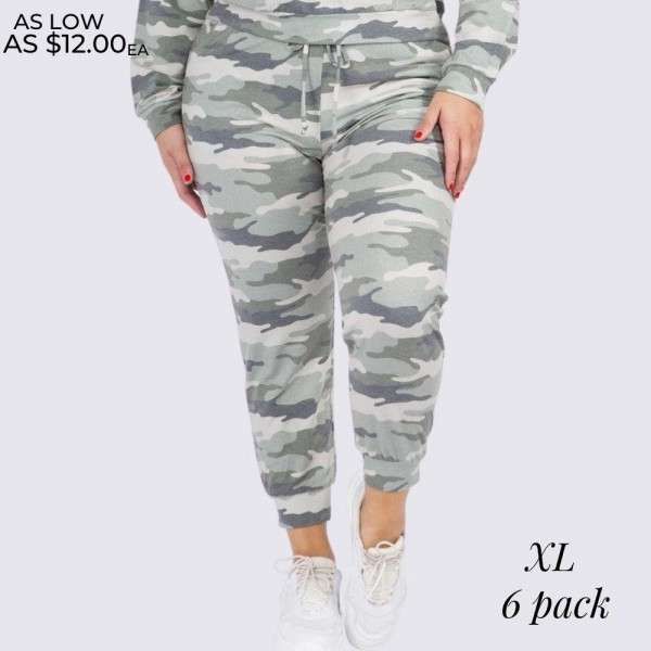 "Women's XL Vintage Camouflage Jogger Pants. (6 Pack) (XL Pants ONLY)  • Vintage camo print • Banded cuffs • Drawstring elasticize waistband • Two side pockets for keeping your hands warm • Relaxed fit • Soft and stretchy • Comfortable for lounging at home • Imported  - 6 Pair Per Pack - Sizes: ALL 6 - XL - Inseam approximately 27"" Long - 95% Polyester, 5% Spandex"