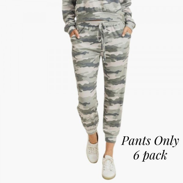 """Women's Vintage Camouflage Jogger Pants. (6 Pack) (Pants ONLY)  • Vintage camo print • Banded cuffs • Drawstring elasticize waistband • Two side pockets for keeping your hands warm • Relaxed fit • Soft and stretchy • Comfortable for lounging at home • Imported  - 6 Pair Per Pack - Sizes: 2-S / 2-M / 2-L  - Inseam approximately 27"""" L - 95% Polyester, 5% Spandex"""