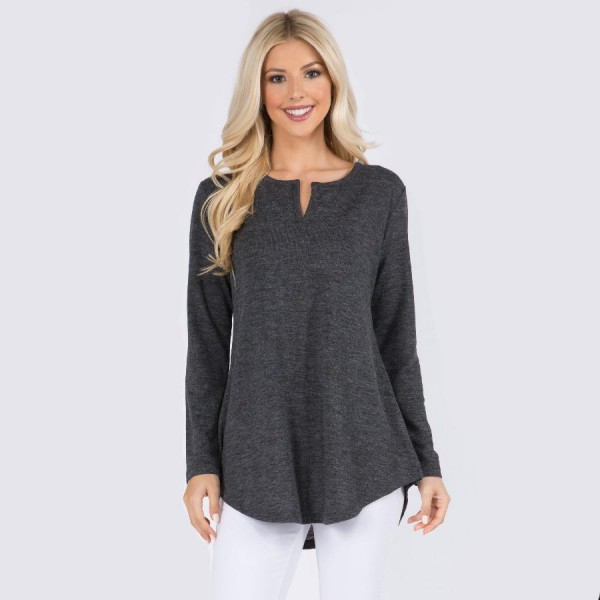 Women's Long Sleeve Tunic Top Featuring V Neck Split Detail. (6 Pack)   • Long sleeves • Split neckline • Round hem • Soft, breathable, cotton-blend fabrication • Imported  - 6 Shirts Per Pack - Sizes: 2-S / 2-M / 2-L  - 80% Polyester 16% Cotton 4% Spandex