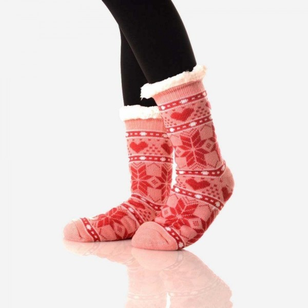 Women's Coral Christmas Print Sherpa Socks.  • Winter Snowflake Heart pattern • Reinforced toe seam • Plush faux sherpa lining • Silicon rubber dot traction bottom • Thick • Breathable • Perfect for wearing indoors • Imported  - 1 Pair - Size: Adult 9-11 - Composition: 40% Acrylic, 60% Polyester
