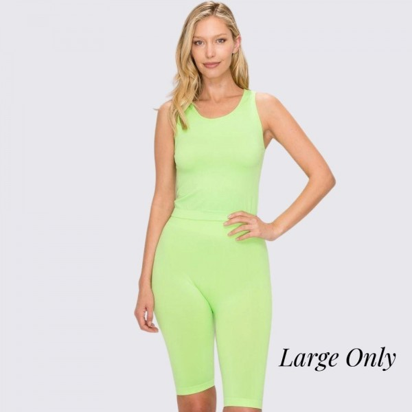 """Women's Active Seamless Neon Green Tank Top and Biker Short Set. (LARGE SET ONLY)  - Includes Seamless scoop tank and Bike Shorts (two pieces total) - Size S (top): 17"""" long from high point of shoulder to hem - Size S (shorts): 8'' inseam - 92% Polyester / 8% Spandex - Machine wash; tumble dry - Imported - Size: LARGE"""