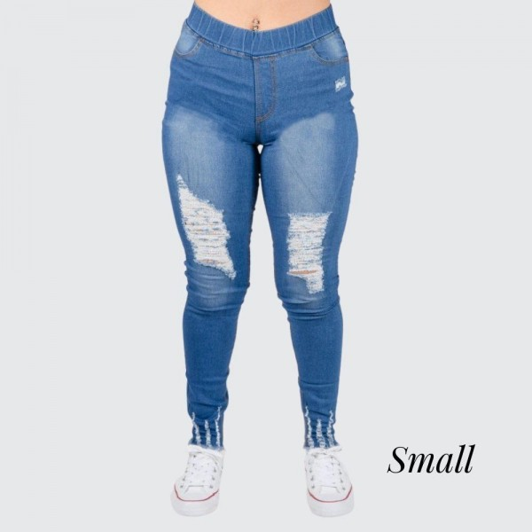 """Women's Classic Distressed Jeggings Featuring Distressed Ankle Details. (SMALL ONLY)  - Pull on Styling - 1.5"""" Elastic Waistband - 4 Functional Pockets - Distressed Details - Full Length - Size: Small  - Inseam approximately 29"""" L  - 76% Cotton / 22% Polyester / 2% Spandex"""