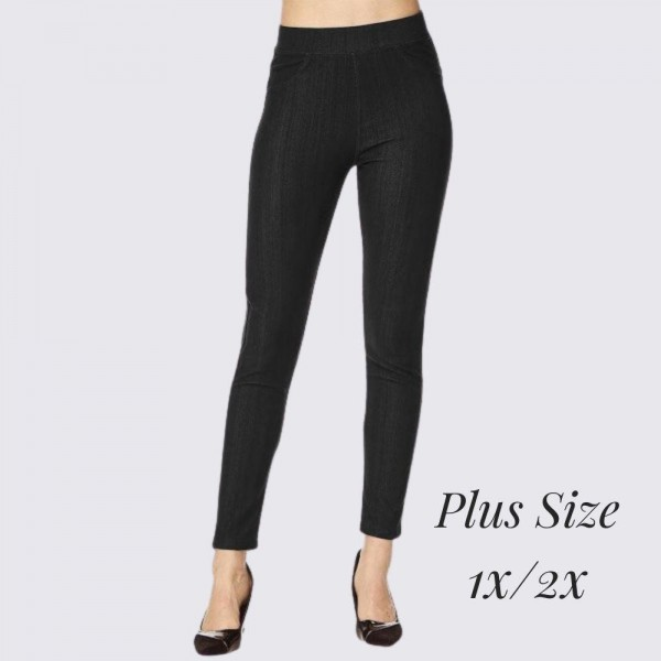 """Women's Plus Size 1X/2X Premium Denim Style Jeggings.  - Pull on Styling  - Elastic Waistband  - Back Pockets  - Premium Denim Stretchy Material   - Size: 1X/2X  - Inseam Approximately 29"""" L  - 75% Cotton, 17% Polyester, 8% Spandex"""