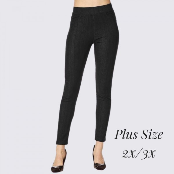 """Women's Plus Size 2X/3X Premium Denim Style Jeggings.   - Pull on Styling - Elastic Waistband - Back Pockets - Premium Denim Stretchy Material  - Size: 2X/3X - Inseam Approximately 29"""" L - 75% Cotton, 17% Polyester, 8% Spandex"""