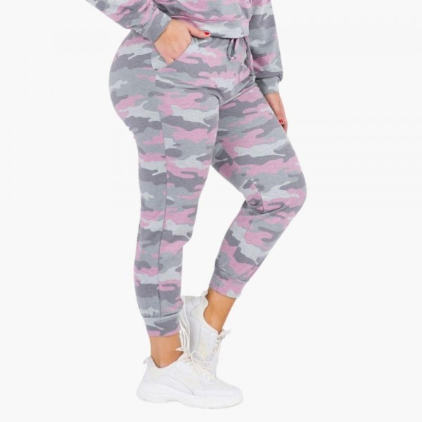 """Women's XL Vintage Camouflage Jogger Pants. (6 Pack) (XL Pants ONLY)  • Vintage camo print • Banded cuffs • Drawstring elasticize waistband • Two side pockets for keeping your hands warm • Relaxed fit • Soft and stretchy • Comfortable for lounging at home • Imported  - 6 Pair Per Pack - Sizes: ALL 6 - XL - Inseam approximately 27"""" Long - 95% Polyester, 5% Spandex"""