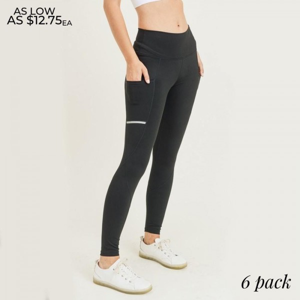 """Women's Active Reflective Tech Pocket Athletic Leggings. (6 Pack)  • High rise elasticized waistband • Reflective stripe detailing • Two open hip pockets to hold keys, cards, cash • Flat reinforced high rise waistband • Squat Proof • Flat stitched seams prevent chafing • Triangular Cotton Gusset Lining • 4 way stretch fabric for more movement • Moisture wick • Perfect for the gym, yoga, travel, lounging • Full length • Imported  - 6 Pair Per Pack - 2-S / 2-M / 2-L  - Inseam approximately 28"""" L - 83% Nylon, 17% Spandex"""