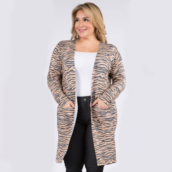 """Women's Plus Size Lightweight Zebra Stripe Duster Cardigan. (6 Pack)  • Long sleeves • Open front design • Two stylish side pockets • Zebra striped print • Soft and comfortable • Duster length hem • Long length hem • Imported  - 6 Cardigans Per Pack - Sizes: 2-XL / 2-2XL / 2-3XL  - Approximately 34"""" Long - 80% Polyester 16% Cotton 4%Spandex"""