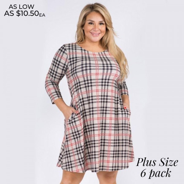 """Women's Plus Size Plaid Print 3/4 Sleeve A-Line Dress with Pockets.  • Plaid pattern • 3/4 length sleeves • Round neckline • Two side pockets to keep your hands warm • A-line silhouette • Soft and comfortable fabric with stretch • Knee length hem • Pullover styling • Imported  - 6 Dresses Per Pack - 2-XL / 2-2XL / 2-3XL - Approximately 34"""" Long  - 95% Polyester / 5% Spandex"""