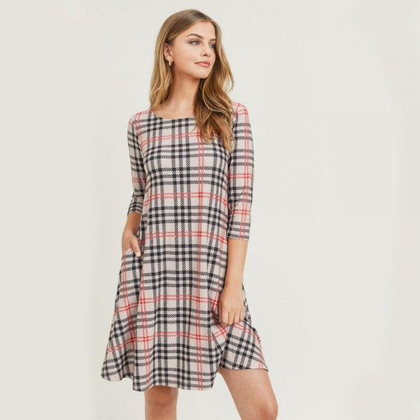 "Women's Plaid 3/4 Sleeve A-Line Dress with Pockets.  • Plaid pattern • 3/4 length sleeves • Round neckline • Two side pockets to keep your hands warm • A-line silhouette • Soft and comfortable fabric with stretch • Knee length hem • Pullover styling • Imported  - 6 Dresses Per Pack - 2-S / 2-M / 2-L  - Approximately 34"" Long - 95% Polyester / 5% Spandex"