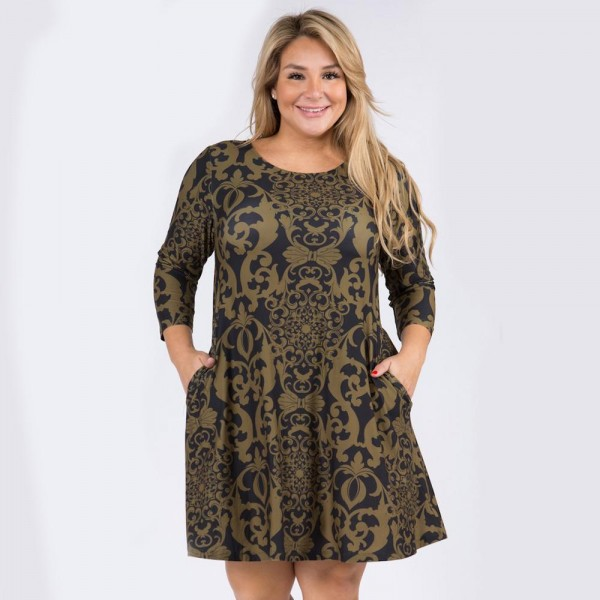 """Women's Plus Size Glamour Swirl Print A-Line Dress with Pockets.  • Glamourous swirl pattern • 3/4 length sleeves • Round neckline • Two side pockets to keep your hands warm • A-line silhouette • Soft and comfortable fabric with stretch • Knee length hem • Pullover styling • Imported  - 6 Dresses Per Pack - 2-XL / 2-2XL / 3-XL - Approximately 34"""" Long  - 95% Polyester / 5% Spandex"""