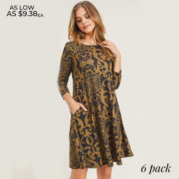 """Women's Glamour Swirl Print A-Line Dress with Pockets.  • Glamourous swirl pattern • 3/4 length sleeves • Round neckline • Two side pockets to keep your hands warm • A-line silhouette • Soft and comfortable fabric with stretch • Knee length hem • Pullover styling • Imported  - 6 Dresses Per Pack - 2-S / 2-M / 2-L  - Approximately 34"""" Long  - 95% Polyester / 5% Spandex"""