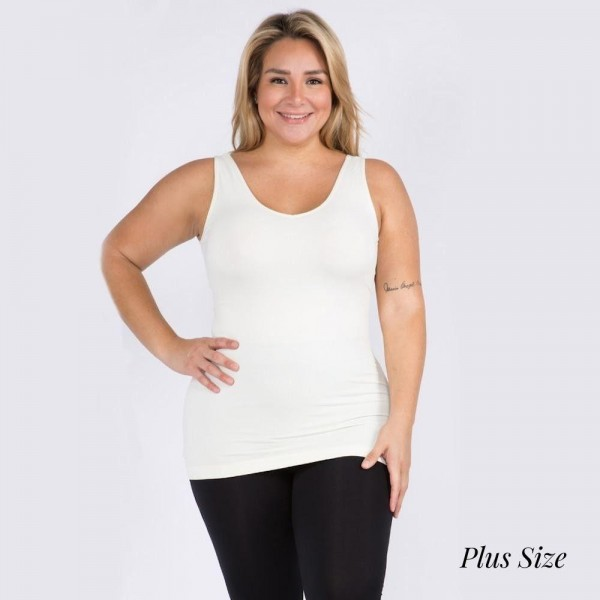 Women's Plus Size Seamless Reversible V-Neck Tank Top.   • Wide shoulder straps • V-neckline • Back scoop neck • Fitted silhouette • Seamless design • Buttery soft fabrication with stretch • Pull on/off • Longline hem • Imported  - One size fits most 16-22 - 92% Nylon, 8% Spandex