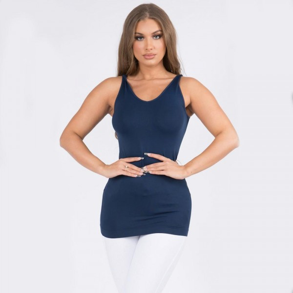 Women's Seamless Reversible V-Neck Tank Top.  • Wide shoulder straps • V-neckline • Back scoop neck • Fitted silhouette • Seamless design • Buttery soft fabrication with stretch • Pull on/off • Longline hem • Imported  - One size fits most 0-14 - 92% Nylon, 8% Spandex