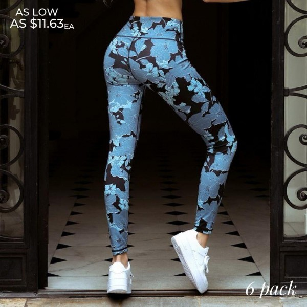 "Women's Active Blue Floral Print Workout Leggings. (6 Pack)  • High rise elasticized waistband • Floral leaf print pattern • 4-way stretch for a move-with-you feel • Flatlock seams prevents chafing • Full length design • Squat proof • Triangle crotch gusset eliminates camel toe • Moisture wick fabric • Second skin fits like a glove • Pull on/off styling • Imported  - 6 Pair Per Pack - 2-S / 2-M / 2-L  - Inseam approximately 28"" Long - 46% Polyester, 41% Nylon, 13% Spandex"