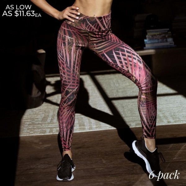 "Women's Active Jungle Palm Print Workout Leggings. (6 Pack)  • High rise waistband • Hidden pocket on waist for phone, keys & cash • Feather print throughout • Fits like a glove • 4-way stretch for more movement • Full length design • Squat Proof • Flat lock seams prevent chafing • Triangular Cotton Gusset Lining • Pull on/off styling • Imported  - 6 Pair Per Pack - 2-S / 2-M / 2-L  - Inseam approximately 28"" L - 46% Polyester, 41% Nylon, 13% Spandex"