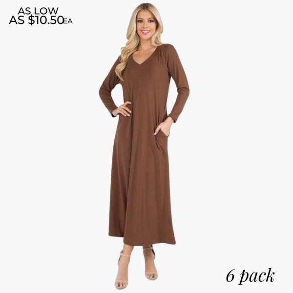 Women's Long Sleeve Maxi Dress. (6 Pack)  • Long maxi dress style • V-neck • Long sleeves • Two side pockets to keep your hands warm • Soft and stretchy fabric • Imported  - 6 Dresses Per Pack - Sizes: 2-S / 2-M / 2-L  - 95% Polyester, 5% Spandex